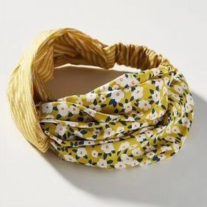 Anthropologie Yellow Floral Twisted Headband